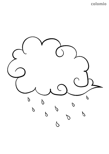 Cloud with rain coloring page