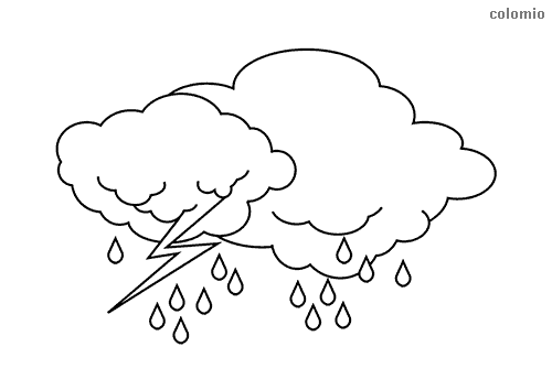 Clouds with rain and lightning coloring page