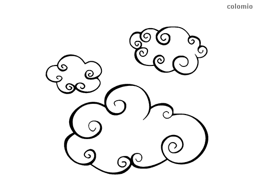 Trio of clouds coloring page