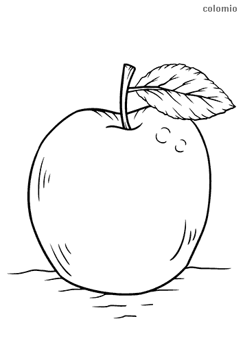 Apple with stem and leaf coloring page