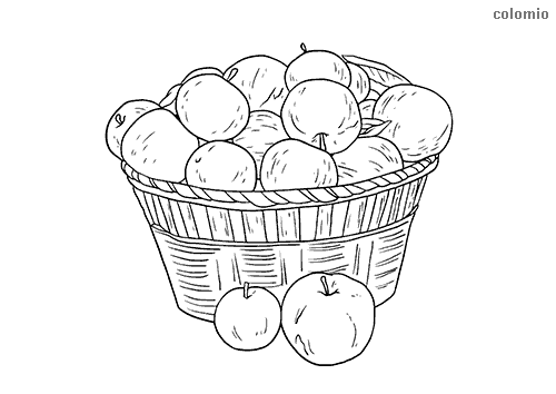 Apples in a basket coloring page