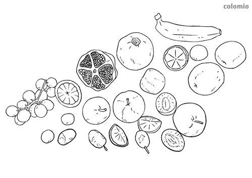 Apples, kiwis, bananas, and grapes coloring pages