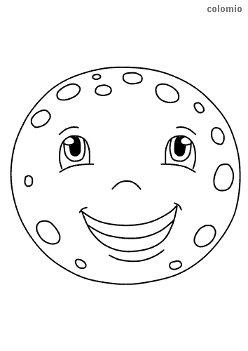 Full moon with face coloring sheet