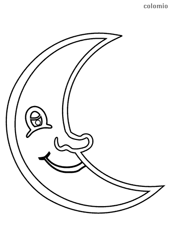 Laughing moon coloring page