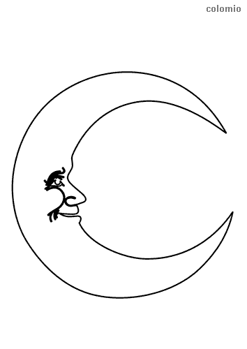 Moon with face coloring sheet