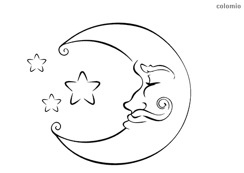 Sleeping moon with moustache coloring sheet