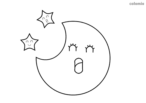 Yawning moon coloring page