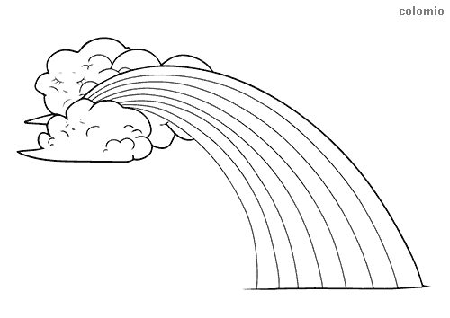 Rainbow with clouds coloring page