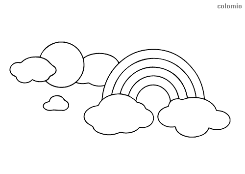 Rainbow with sun and clouds coloring sheet