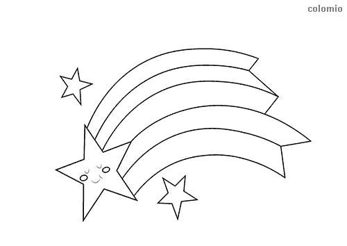 Smiling comet with stars coloring page