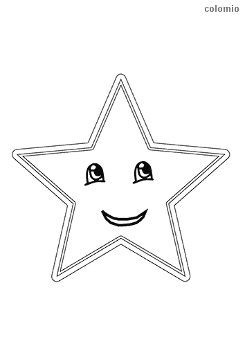 Smiling star coloring page