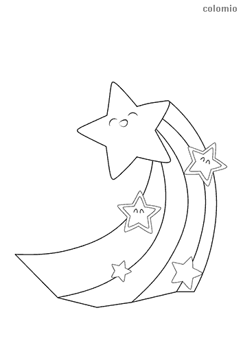 Stars with tail coloring page