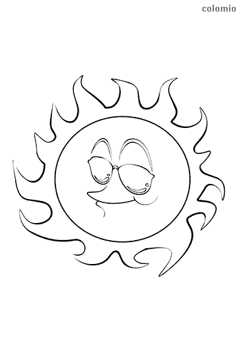 laughing sun with glasses coloring pages