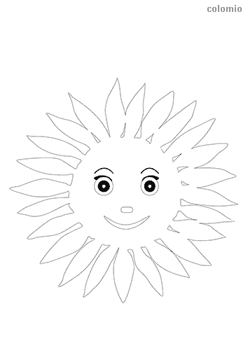 Sun with face coloring sheet