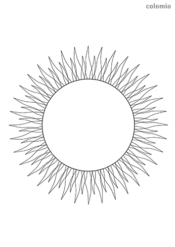 Sun with sunbeams coloring sheet