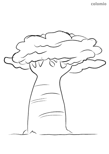 Tree with strong trunk coloring page