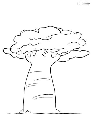 Dibujo de Árbol con un tronco fuerte para colorear