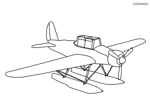 Classic seaplane  coloring sheet
