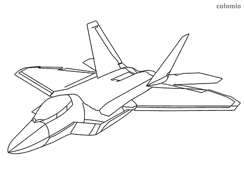 Fighter aircraft F22 coloring page