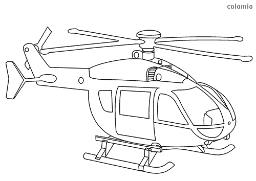 Helicopter with skids coloring page