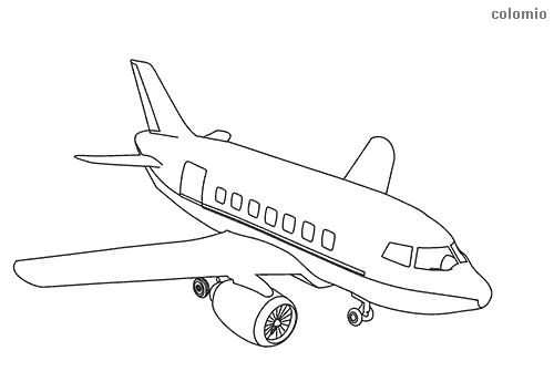 Passenger aircraft coloring sheet