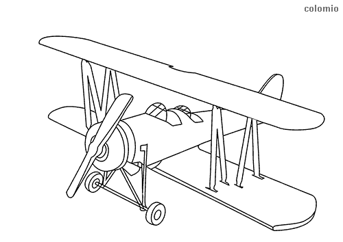 Simple biplane coloring page
