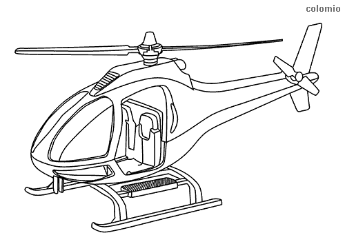Simple helicopter with skids coloring page