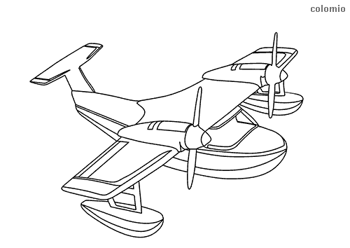 Simple seaplane coloring sheet