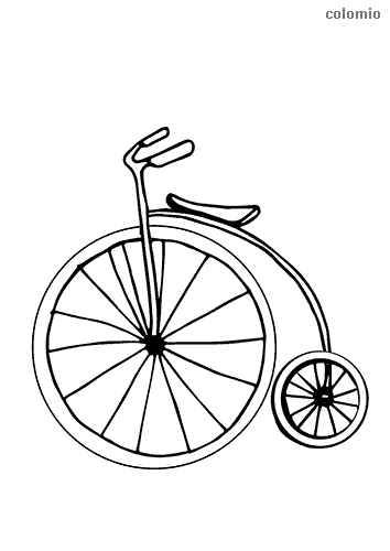 High wheel bike coloring sheet