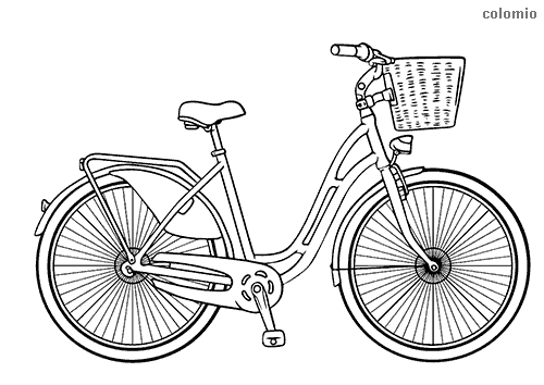 Urban bicycle with basket coloring sheet