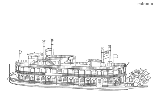 Classic paddle steamer coloring page