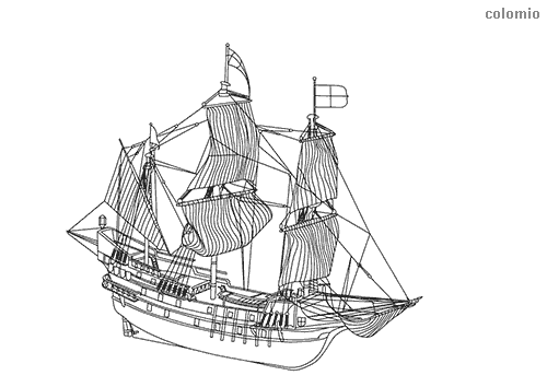Classic sailing ship coloring sheet