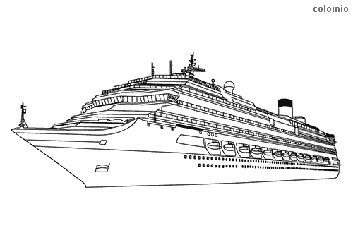 Heavy cruise ship coloring page