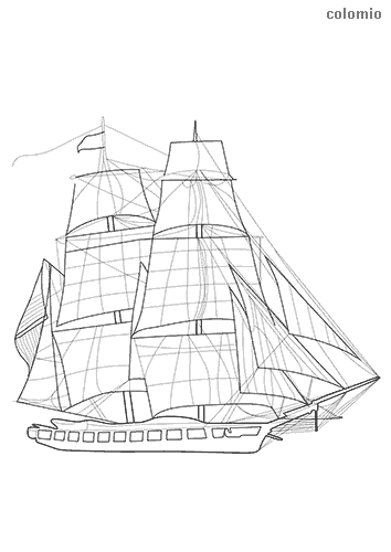 Sailling frigate coloring page