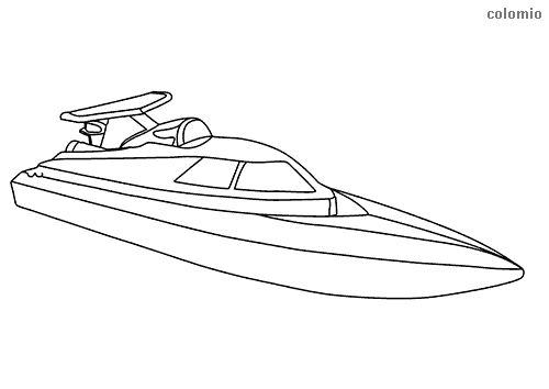 Simple racing boat coloring sheet