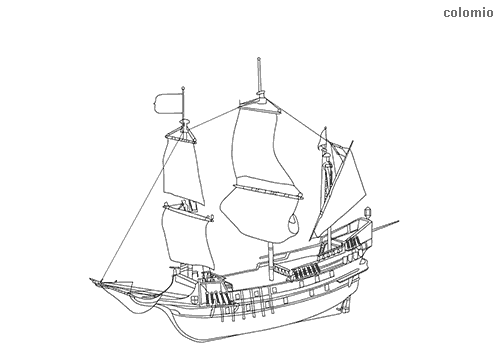 Simple sailing ship coloring page