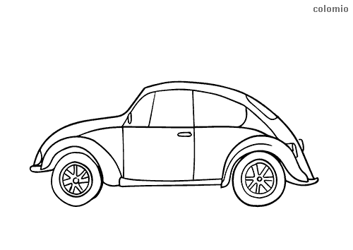 Beetle classic car coloring page