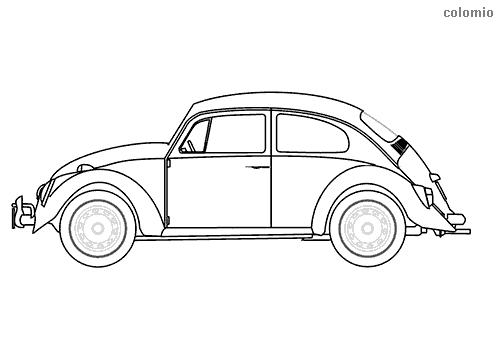 Beetle oldtimer coloring sheet