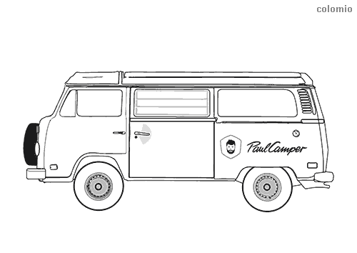 Dibujo de Furgoneta Camper Bulli para colorear