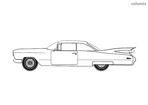 Dibujo de Coche clásico EE.UU. (60's) para colorear