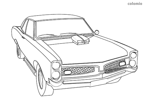 Classic muscle car coloring page