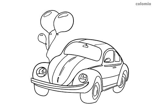 Wedding car coloring page