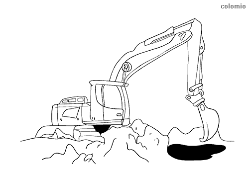 Digger on construction site coloring page
