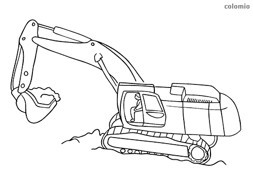 Digger with driver coloring page