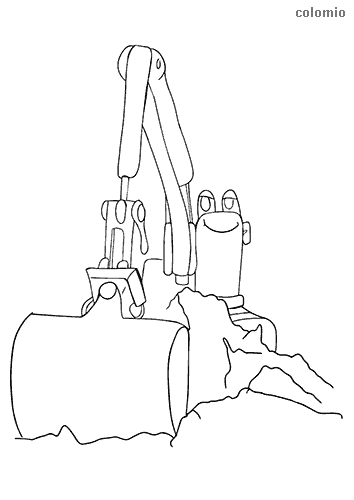 Funny digger with face  coloring page