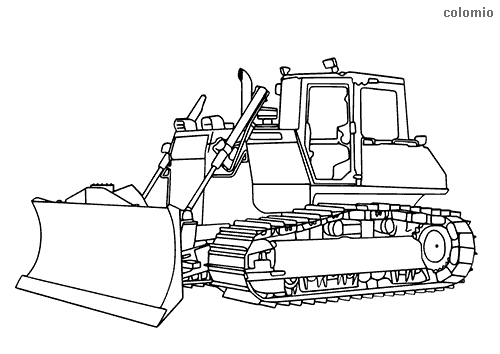 Heavy bulldozer coloring page