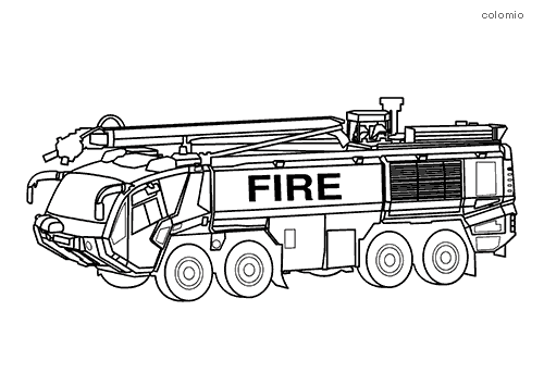 Airport fire truck coloring sheet