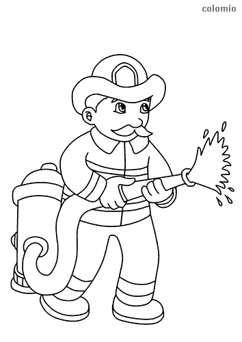 Cute firefighter with hose coloring page