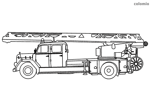 Fire truck with aerial ladder coloring page