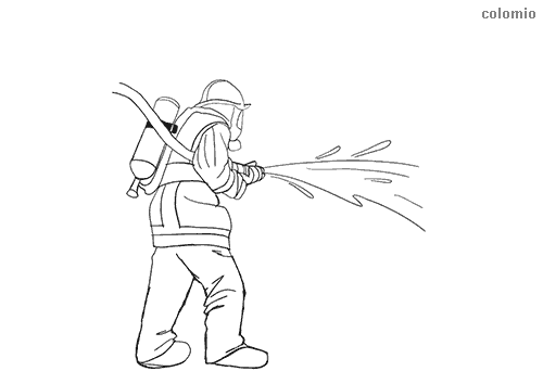 Firefighter extinguishing fire coloring page